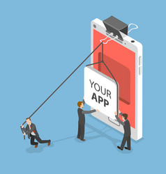 your app flat isometric concept vector image