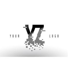 Yz y z pixel letter logo with digital shattered vector