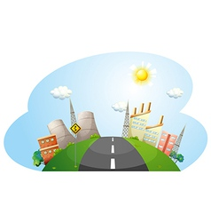 A road going to the city with factories vector image vector image