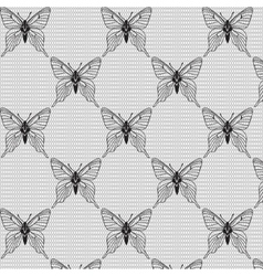 Black and white seamless with butterflies on the vector image vector image