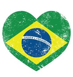 Brazil retro heart shaped flag vector image vector image