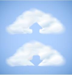Cloud computing icon with arrow vector image vector image
