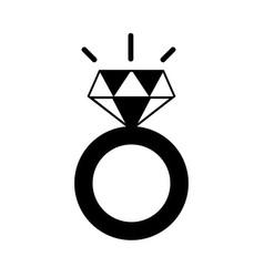 contour beauty wedding ring with diamond design vector image