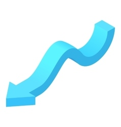 Curved blue arrow icon cartoon style vector