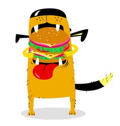 dog eating big hamburger hungry cute pet cartoon vector image vector image