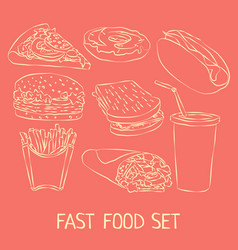 Fast food doodle icon set vector