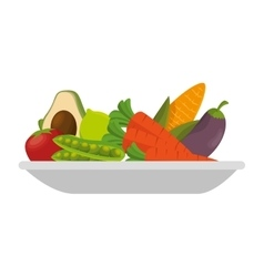 fruit salad plate isolated icon vector image