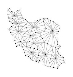iran map of polygonal mosaic lines network rays vector image vector image