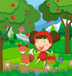 Little girl in red dress and a wolf vector image