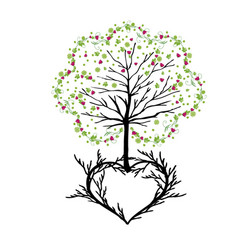 Tree with florishes and heart vector