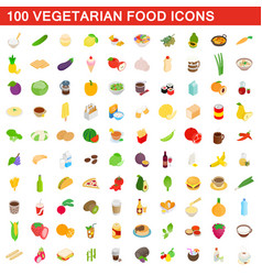 100 vegetarian food icons set isometric 3d style vector image vector image