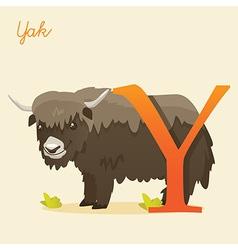 Animal alphabet with yak vector image