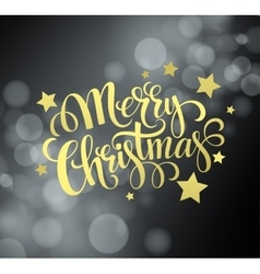 Christmas gold text design on bokeh background vector image vector image