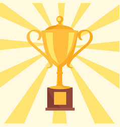 golden cup prize icon isolated on background rays vector image vector image