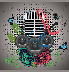 grunge speaker and microphone vector image vector image