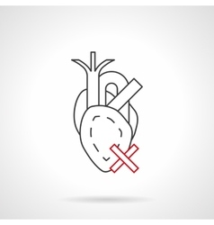 Harm to heart flat line icon vector image vector image