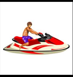 man on the jet ski vector image vector image