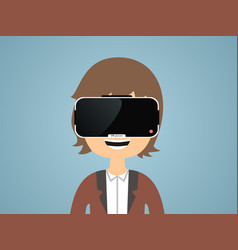 man with glasses of virtual reality vector image vector image