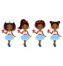 Nautical little african american girls vector