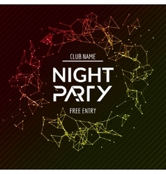 Night Party poster Shiny banner club disco Dj vector image