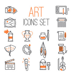 outlined art icon set on white background modern vector image vector image