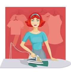 woman ironing clothes vector image