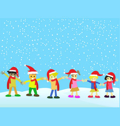 christmas kids on snowing background vector image