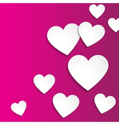 Happy Valentines day simple paper hearts on pink vector image vector image