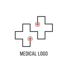 medical logotype with thin line cross vector image