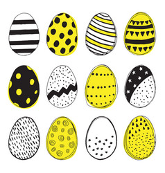 pattern with easter eggs doodles vector image