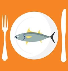 Tuna fish on plate vector image vector image
