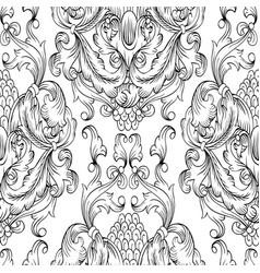 black damask seamless pattern hand drawn vector image vector image