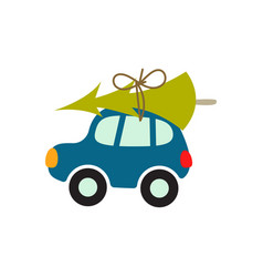 cartoon car with xmas tree on the roof vector image