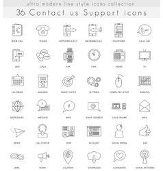contact us ultra modern outline line icons vector image vector image