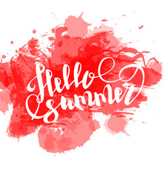 hello summer red colored hand lettering vector image vector image