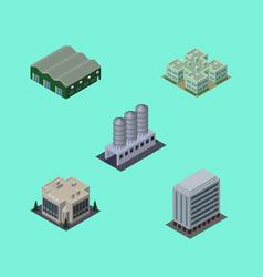 isometric urban set of warehouse water storage vector image vector image