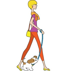 Lady Walking Puppy vector image