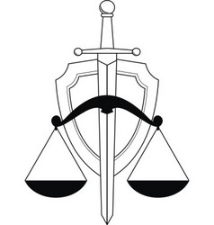 low shield sword and scales vector image