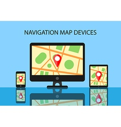 Map and navigation software for modern devices vector image vector image
