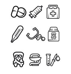 Outline medical icons set vector image