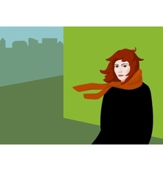 pop art girl in the urban landscape vector image