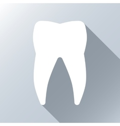 White tooth with long shadow effect vector image