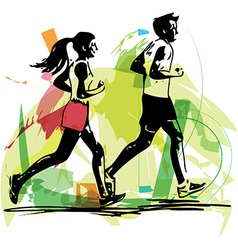 young fitness couple of man and woman jogging in vector image vector image