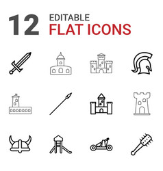 12 medieval icons vector