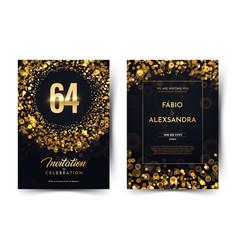 64th years birthday black paper luxury vector