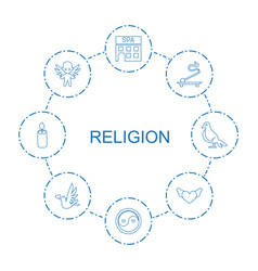 8 religion icons vector image