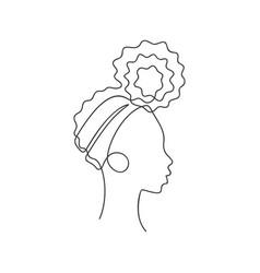 african girl in profile with hair bun bandana vector image