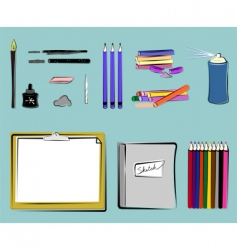art supplies drawing vector image