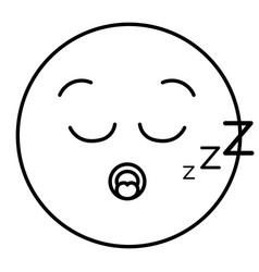 Asleep face emoticon kawaii character vector