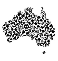 Australia map collage of football spheres vector